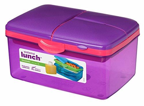 Sistema Brotdose, Kunststoff, BPA- und bleifrei, groß, für Kinder, mit Flasche, Violett -