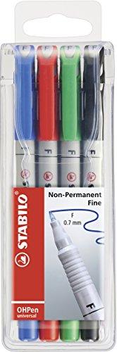 STABILO OHPen universal - wasserlöslich fein Folienstift - 4er Pack grün, rot, blau, schwarz -