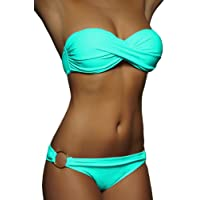 ALZORA Twist Push Up Bandeau Bikini Set Damen Pushup Badeanzug Türkis , 10447
