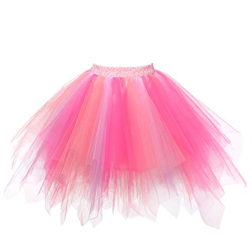 MuseverBrand 50er Vintage Ballet Blase Firt Tulle Petticoat Puffy Tutu Coral/Fuchsia Small/Medium