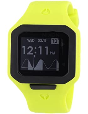 Nixon Herren-Armbanduhr The Supertide Neon Yellow Digital Quarz Silikon A3161262-00