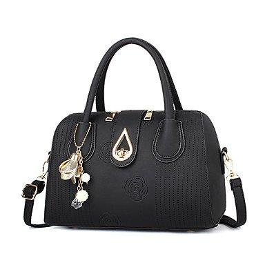 Le donne della moda ricamo PU in pelle Tracolla Messenger Crossbody borse/borsa borse,viola Black