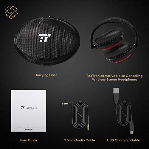 TaoTronics Noise Cancelling Kopfhörer Bluetooth Kopfhörer Over Ear mit aktiver Rauschunterdrückung 25 Std. Laufzeit, TT-BH22 eingebautes Mikro CVC 6.0, duale 40 mm Tieftontöner, Faltbare Ohrhörer rot - 6