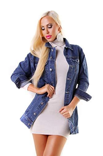OSAB-Fashion 5016 Damen Jeansjacke Damenjacke Lange Jacke Leichter Jeans-Parka Denim