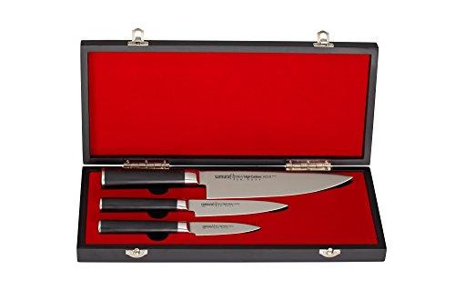 Samura MO-V Set di 3 Coltelli da Chef Giapponesi Professionali in Acciaio di Altissima Qualità con Impugnatura Professionale G-10 Nero - Elegante Idea Regalo