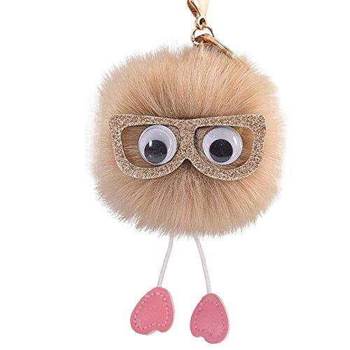 XuanhaFU 10cm Mode Bommel Brille Auto Schlüsselring Keychain Faux Kaninchenfell Ball Frauen Tasche Auto (Khaki)