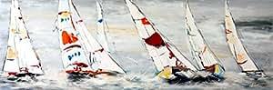 Sailing Regatta III - Acrylmalerei auf Leinwand - signiert Martin Klein - Exklusive Bilder - Segelboote - Acrylbilder Kaufen - Wandbilder Kaufen