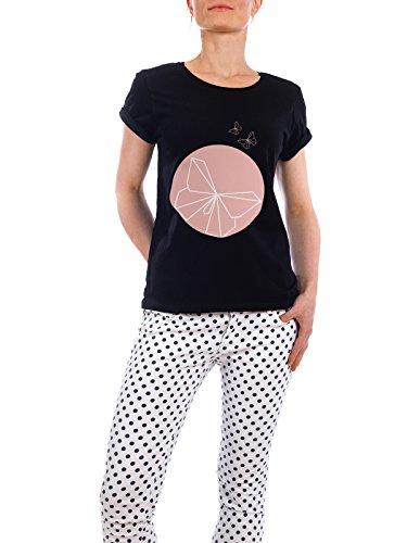 """Design T-Shirt Frauen Earth Positive """"Butterfly"""" - stylisches Shirt Abstrakt von Dorena Timm Schwarz"""