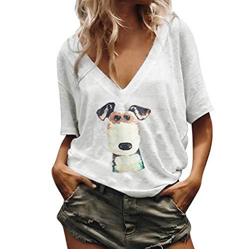 BCFUDA Bluse Frauen Plus Size Sommer Kurzarm Casual Shirt Welpe Outdoor Lose Atmungsaktiv Dünn und Leicht Tops Mode Wild Freizeit Strandhemd