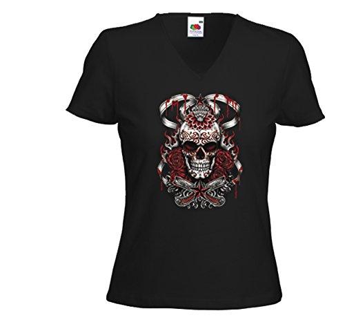 Blood-skull-t-shirt (Mexican Damen T-Shirt Skull Blood Rockabilly Tattoo Gothic Muertos Gr.L)