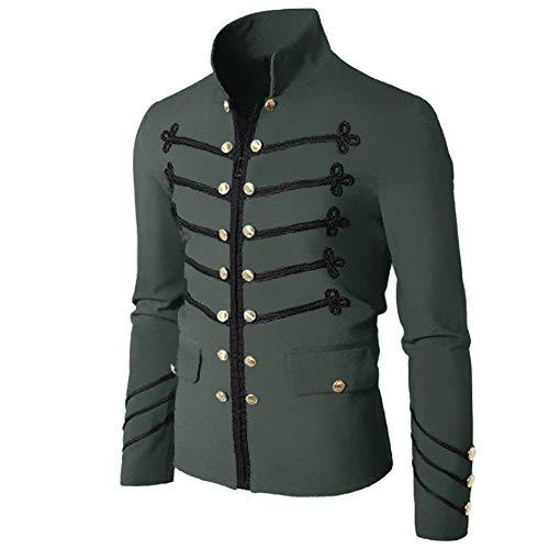 Manteau Homme Grande Taille Hiver Chaud Veste Manche Longues Col Debout Boutons Blousons Gothique Uniforme Outwear Slim Fit