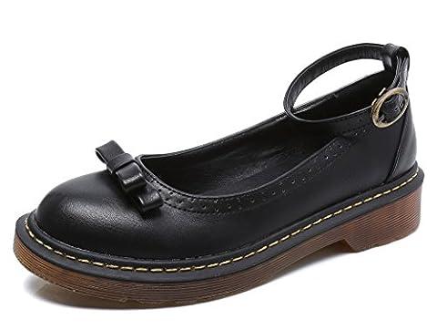 Bdawin Chaussures Femme Vintage Mary Janes Plateforme Bas Chunky Talon Bride Cheville Plates avec Nœud,11112 Black EU38