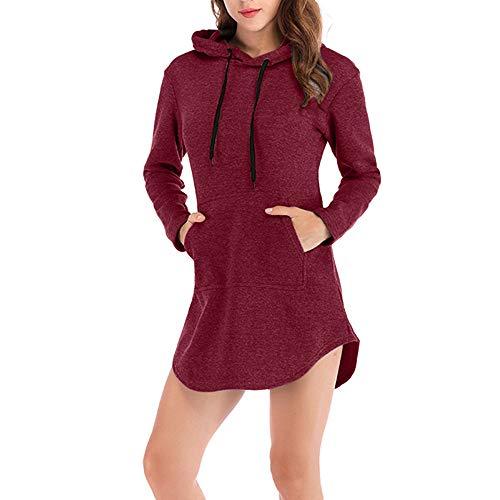 iHENGH Top Damen,Women Herbst Casual Hoodie Solid Sweatshirt Lange Ärmel unregelmäßiger Pullover Top Bluse T Shirt Pullover Crop Tops Damen ()