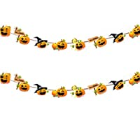 Bunting Banner Double Sided Pumpkin Flag Garland Vintage Banner for Halloween Party Decoration 1pcs