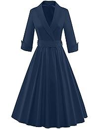 iLover Damen Abendkleid 3/4 Ärmel V Neck bowknot Cocktailkleid Rockabilly 50er Jahre Party Brismaid Swing Kleid