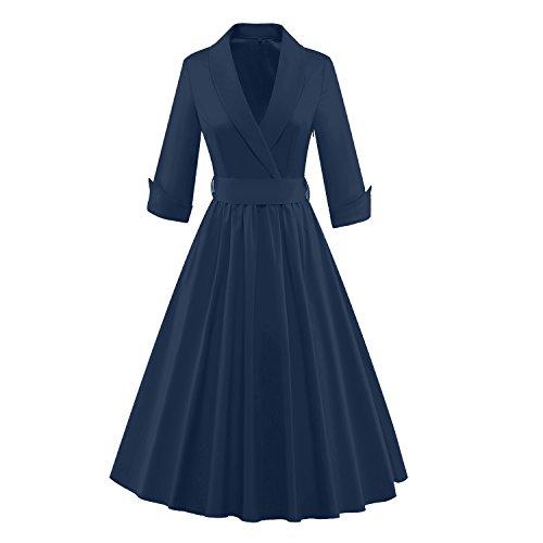 Wealsex 50er Retro Rockabillty Elegant Kleider Damen 3/4 Ärmel kleider mit Gürtel V-Ausschnit Swing Kleid petticoat Dunkelblau