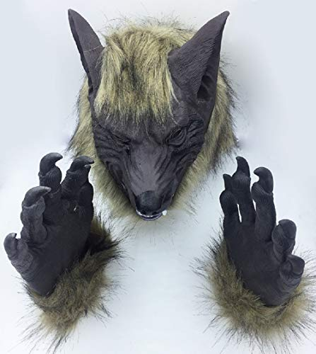 che Halloween Latex Werwolf Maske Und Handschuhe Wolfman Claw Pfoten Party Kostüme Requisiten Für Erwachsene Unisex Tier Cosplay,Gloves+Mask ()