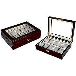Edle Uhrenbox Woolux Holz für 10 Uhren mit herausnehmbaren Kissen in Kirsche Hochglanz