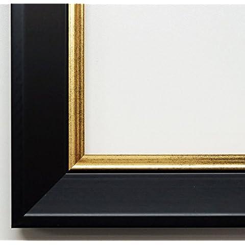 Specchio da parete specchio da bagno corridoio specchio appendiabiti–su taglie 200–Ismaning Nero Satinato, Monaco oro 3,8, Dimensioni esterne dello specchio, nero, DIN A0 (84,1 x 118,9