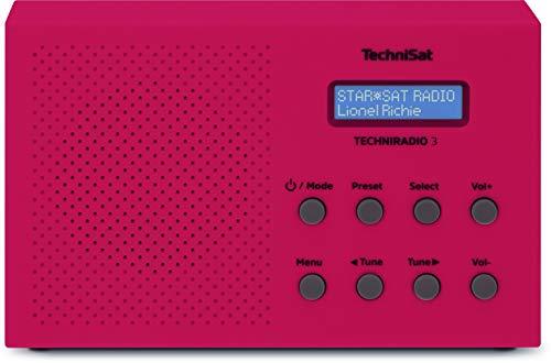 TechniSat TechniRadio 3 DAB Radio (DAB+, UKW, portabel, Radiowecker, Blockdesign) rot