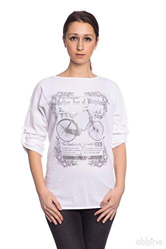 Abbino 7178-18 Damen Shirts Tops - Made in Italy - 4 Farben - Übergang Frühling Sommer Herbst Basics Viskose Unifarbe Locker Lässig Jugendlich Sexy Sale Freizeit Elegant Bonbon - One size Weiß