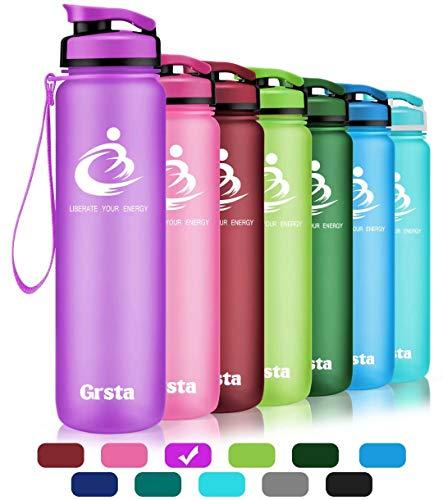 Grsta Sport Trinkflasche 28oz-800ml - Wasserflasche Auslaufsicher, Eco Friendly BPA Frei Tritan Kunststoff Flaschen mit Frucht Filter, Sporttrinkflasche für Kinder, Gym, Yoga, Laufen, Camping (Lila) -