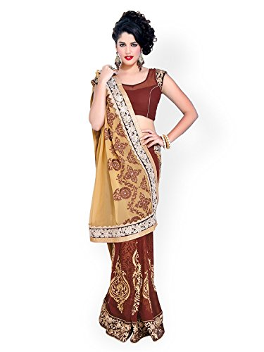 Chirag Sarees Crepe Saree in Brown Colour for Party Wear