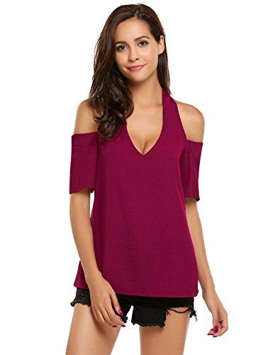 Damen Schulterfrei T-Shirt V-Ausschnitt Bluse schickes Oberteil Weinrot