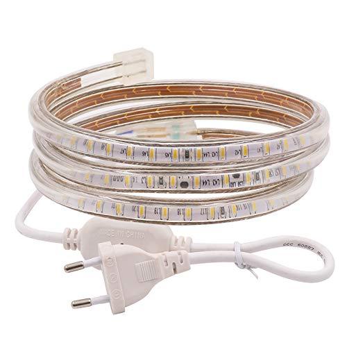 XUNATA 4m 220V Tiras LED, SMD 3014 120LEDs/m, IP67 Impermeable, Escalera de Techo Blancas Tira de LED Cocina Cable Luces LED Blanco frio