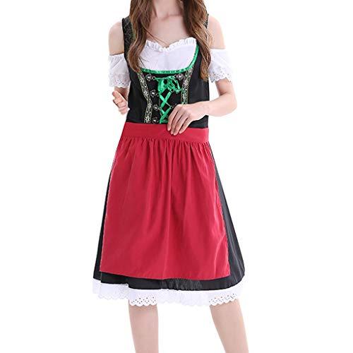 Kostüm Kind Dienstmädchen - Kleider Damen PPangUDing Oktoberfest Mädchen Dirndl Frauen Kostüm München DienstmäDchen KostüM Trachtenkleid Bar Party Rock Overall Bayerische Bluse Karneval Abendmode (XXL, Schwarz)