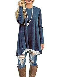 NICIAS Damen Lange Ärmel T-Shirt Pullover Rundhals Spitze Tunika Top Lässige Oberteil Bluse Shirt