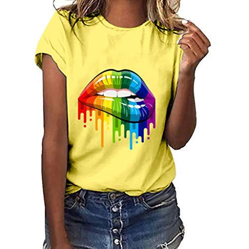 UYSDF Sommer Damen Plus Größe Lippen Geste Print Kurzarm T-Shirt Beiläufige Lose O Neck Tops 2019 (Kostüme Cute Cowgirl)