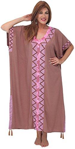 Lotustraders -  Vestito  - con orlo a palloncino - A righe - Senza maniche  - Donna Taupe-Pink-Mauve-Brown