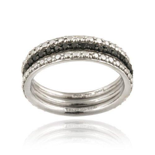 Plata esterlina acento diamante negro apilable Eternity Band Set de anillos