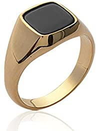 Isady - Simon Gold - Men's Ring Ladies Ring - 18ct Yellow Gold Plated - Imit. Onyx Black