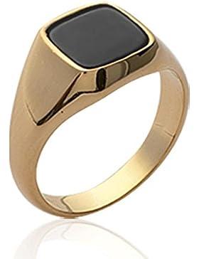 ISADY - Simon Gold - Herren Ring Damen Ring - 18 Karat (750) Gelbgold platiert - Imit. Onyx Schwarz