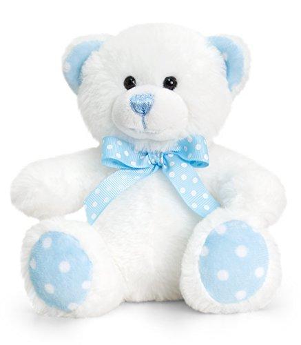üschtier Bär in Beige - Blau, Kuscheltier Teddy sitzend 15 cm ()