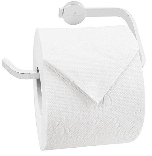 Kretschmann Toilettenpapierhalter Edelstahl Chrom - Bad WC Design Toilettenpapierrollenhalter, hochwertig glaenzend, Wandmontage, 1 Stück