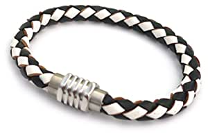 Tribal Steel Women's Leather Bracelet in Black and White with Angular Magnetic Barrel Clasp of 19cm