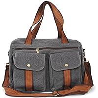 Allcam Medium Canvas Messenger Bag / College University Laptop Bag for Men in Grey w/Shoulder Strap