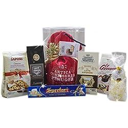Cesta Navideña Gourmet - Cesta de Regalo con Panettone Italianos, Chocolate y Productos típicos de Navidad - La Strenna di Natale