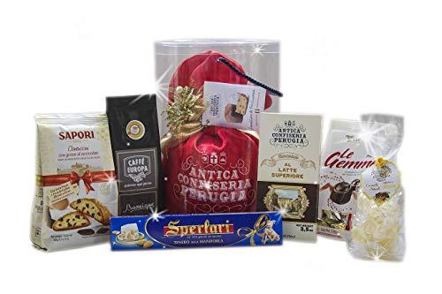 Strenna di natale - cesto natalizio con panettone artigianale, cioccolato e prodotti tipici di natale