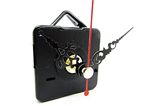New Non Ticking Quartz Clock Movement Mechanism Motor & Metal Hands - Medium Spindle - Fittings (50mm Black