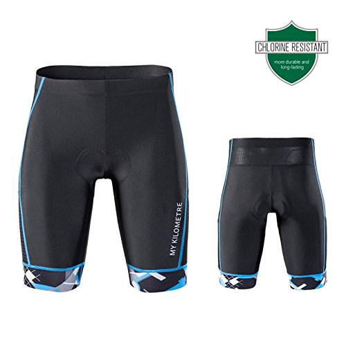 Triathlon-race-short (My Kilometer Kilo Triathlon Herren Shorts 22,9 cm schwarz | Easy Reach Beintaschen | Chamois für Langstrecken-Tri Race, schwarz/blau, Large)