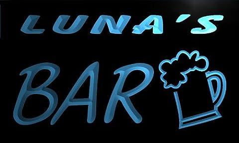 Enseigne Lumineuse pv1492-b LUNA's Bar Beer Mug Glass Pub Neon Light Sign