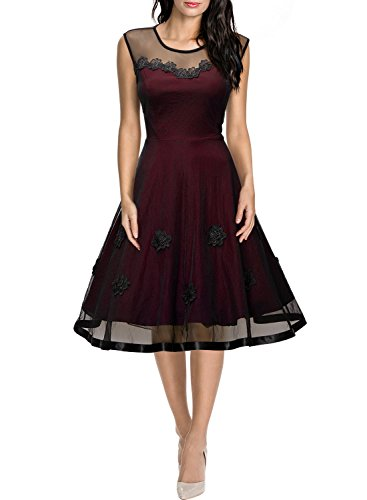 Miusol Damen Elegant Abendkleid Mesh Brautkleid Retro Cocktailkleid Rockabilly Party 50er Jahr Kleid Weinrot Gr.L