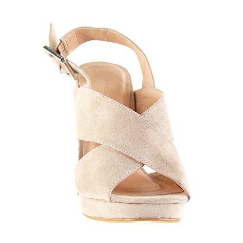 Angkorly Chaussure Mode Sandale Mule Plateforme Ouverte Femme Lanière Boucle Talon Haut Bloc 12 CM Rose