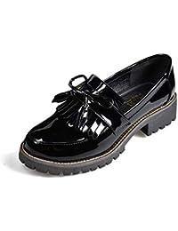 Zapatos de Charol con Borla de Las Mujeres Punta Redonda Primavera Otoño Slip-on Flats Mocasines de Plataforma…