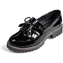 Zapatos de Charol con Borla de Las Mujeres Punta Redonda Primavera Otoño Slip-on Flats