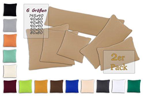 SHC Kissenbezug Doppelpack 50x50 cm in Sand/Cappuccino als Deco Kissen Zierkissen Couchkissen...